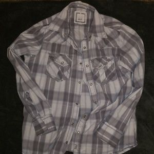 GUC BKE gray plaid pearl snap button up